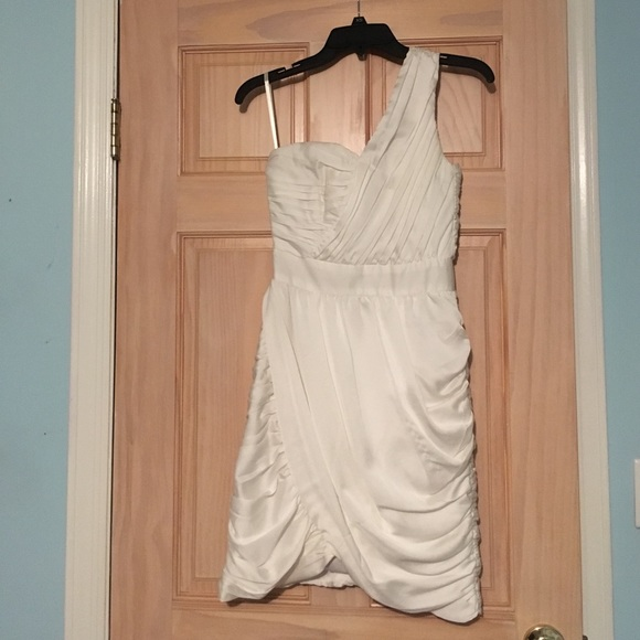 H&M Dresses | Cream One Shoulder Toga Dress | Poshmark
