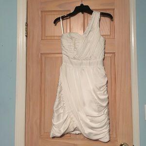 Cream One Shoulder Toga Dress