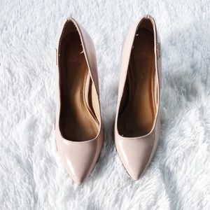 Shiekh Women's Shoes Patent Leather Nude Heels 8.5