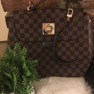 Top Handle Flap Bag w/ Turn Lock Brown & Gold