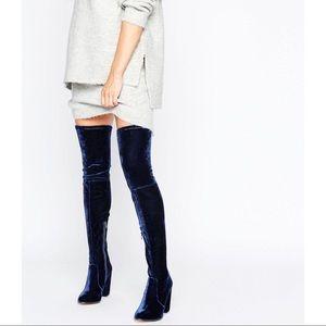 ASOS KINGDOM Velvet Heeled Over The Knee Boots