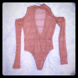 Mesh mock neck body suit