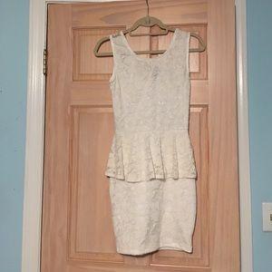 Lace Peplum Dress with Chiffon Bow Back