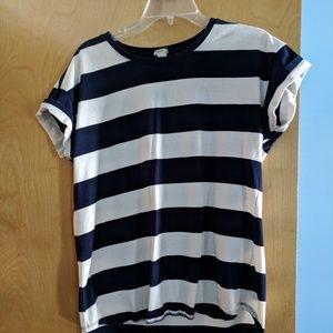 Thick striped navy and white shirt size L