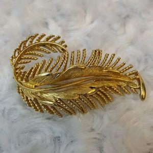 VINTAGE Large Lisner Leaf Feather Brooch