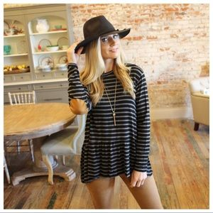 Black and gray striped ruffle elbow patch tunic