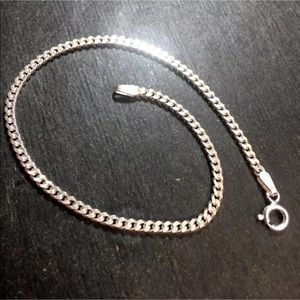 New Solid Sterling 925 Silver Flat Curb Bracelet