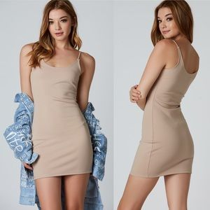 Nude Strappy Bodycon Midi Dress Small