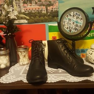 Brand new black lace up ankle boots