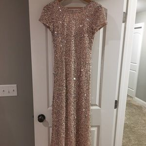 Adrianna Papell Sequined Long Skirt Gown Blush