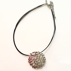 Silver Colored Floral Statement Necklace Choker