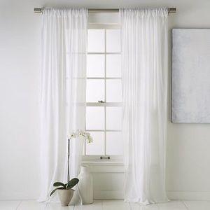 "95"" sheer white balance draped curtains. Gorgeous"