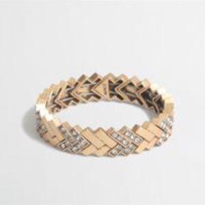 J. Crew Chevron Stretch Bracelet - Gold and Silver