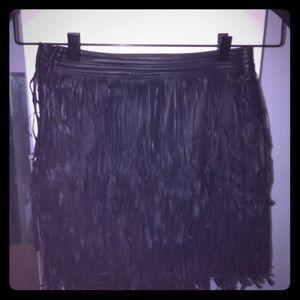 Fringe pleather skirt high waist
