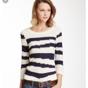 XS Lucky Brand Atwater Intrasia Striped Sweater