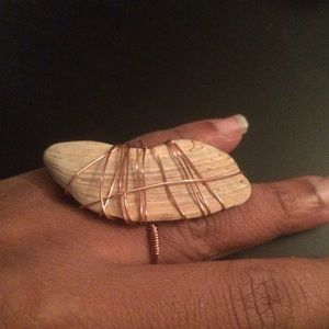 Seashell Wire Wrapped statement Ring (Size 7)