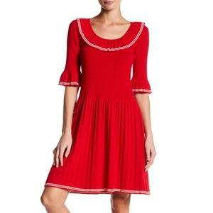Marc Jacobs Pleated Ribs Ruffle Sweater Dress xs