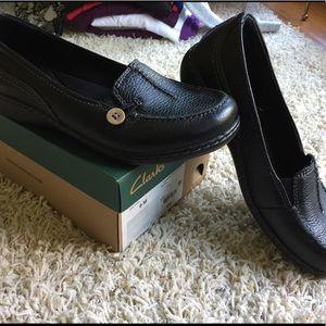 Clarks Black Leather Slide Ons