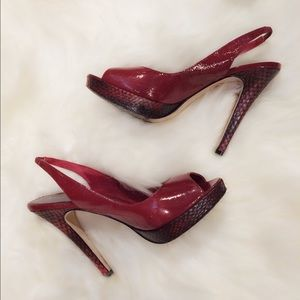 Bebe Peep Toe Patent Leather Red Heels Size 5 (35)