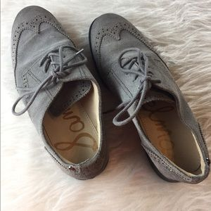 Sam Edelman gray oxford leather lace up shoes
