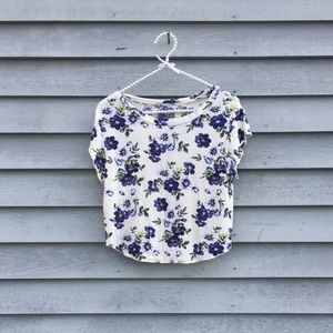 Cream and Purple Floral Tee