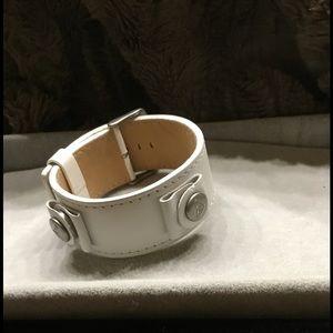 Jewelry - White Leather Band Bracelet w/ Buckle Closure