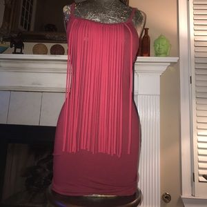 Maroon Fringe Fitted Dress