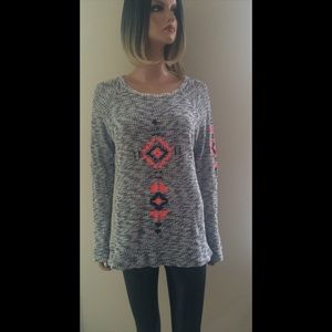 Forever 21 Embroidered Boho Southwest Knit Sweater