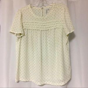 Off white polka dot ruffle blouse