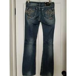 Miss Me Crystal Studded Gothic Cross Jeans SZ 28