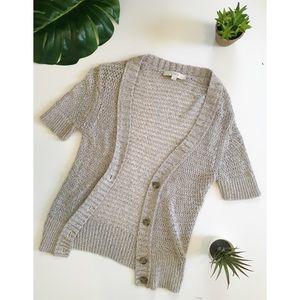 Loft Cream Metallic Short Sleeve Cardigan Sweater