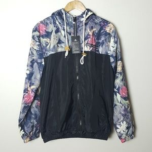 Unisex Windbreaker Floral and Solid Black
