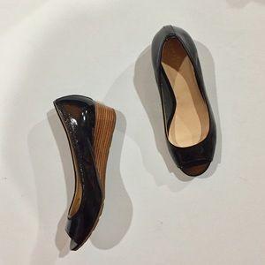 Cole Haan | Nike Air Black Patent Peep Toe Wedge
