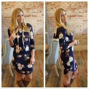 Navy floral lace up hoodie dress