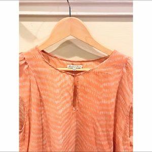 Anthropologie striped orange silk short sleeve top