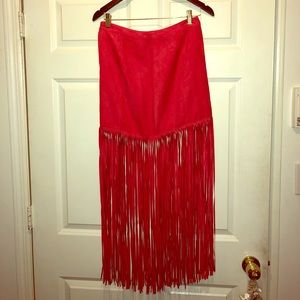 H&M red suede skirt with fringe detail