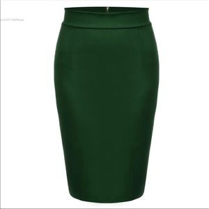 Green pencil skirt with zip detail in the back