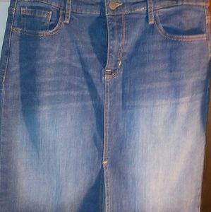 Below knee Denim, medium into light wash skirt