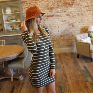 Olive striped long sleeve bodycon