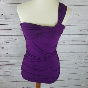 The Limited One Shoulder Dressy Purple Top Sz S