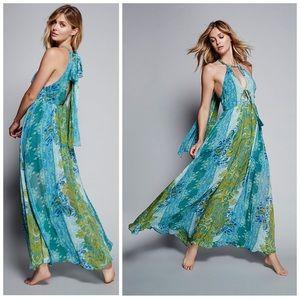 FREE PEOPLE UNATTAINABLE BLUE GREEN MAXI DRESS 2
