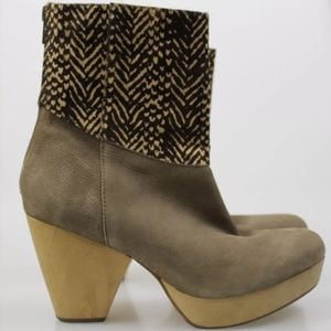 80%20 7 Calf Hair Wood Heel Booties Shoes Leather