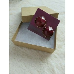 Jewelry - Upcycled Berry Faceted Jewel Earrings Christmas