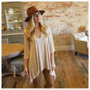 Taupe cross cross front asymmetrical tunic