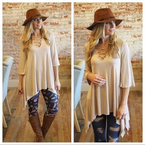Tops - ✨LAST ✨ Taupe cross cross front asymmetrical tunic