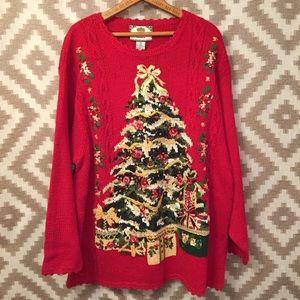 Vintage Red Embellished Christmas Sweater!