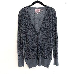 Juicy Couture • 100% Wool Animal Print Cardigan