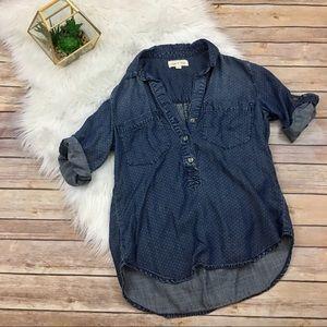 {Cloth & Stone} Polka-dot chambray blouse