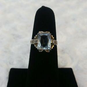VINTAGE German Aluminum & Glass Ring