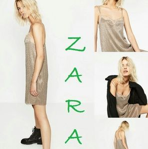 ZARA Sexy Lace Trim Fully Lined Mini Dress